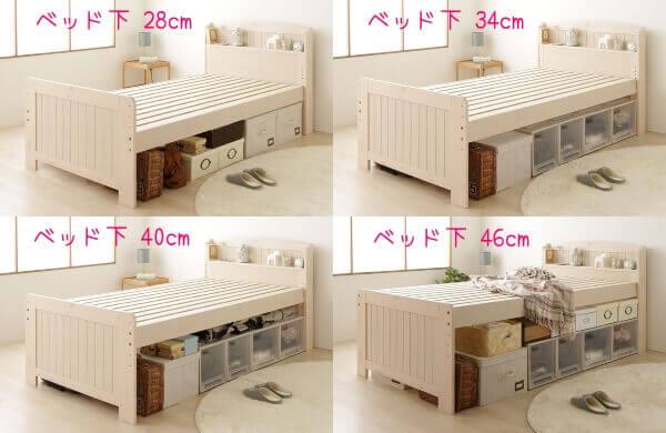 ベッド下4段階の高さ比較