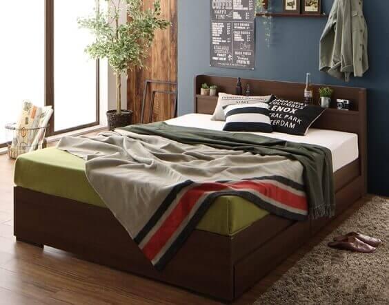 組み立て簡単収納付きベッド『Lacomita』ラコミタ ブラウン