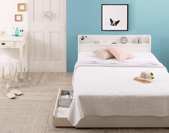 組み立て簡単収納付きベッド『Lacomita』ラコミタ ホワイト
