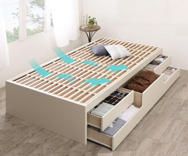 すのこ床板 ヘッドレス大容量収納付きチェストベッド【Renitsa】レニツァ
