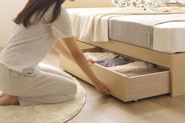 一人暮らしにおすすめ、収納付きシングルベッド