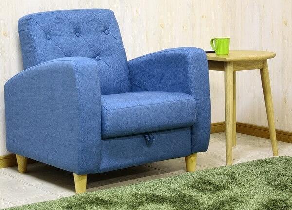 収納付き一人掛けソファ ブルー