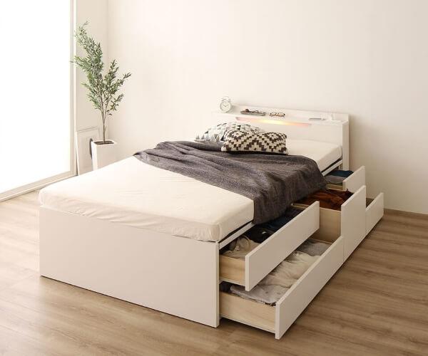 ライト付き国産収納付きベッド【Avantika】アバンティカ ホワイト