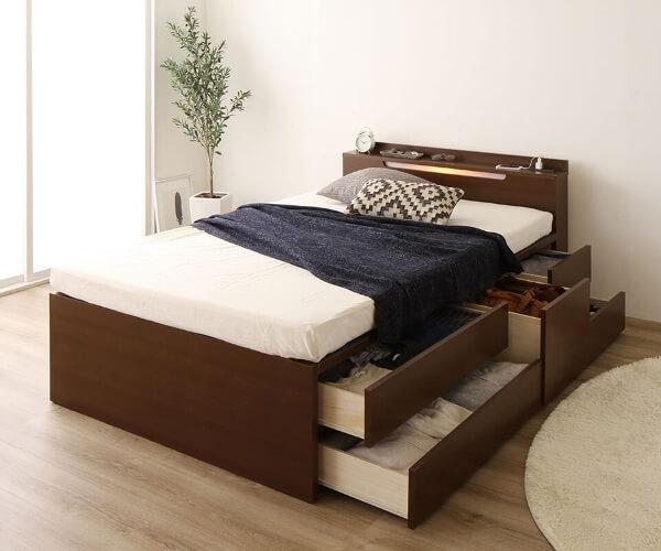 ライト付き国産収納付きベッド【Avantika】アバンティカ ブラウン