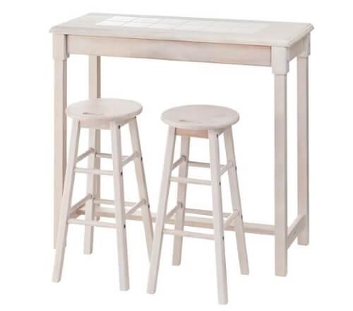 白い木製カウンターテーブル