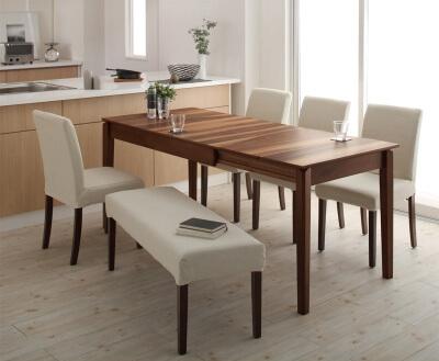 木製伸縮式ダイニングテーブル【Bolta】ボルタ ホワイトチェア