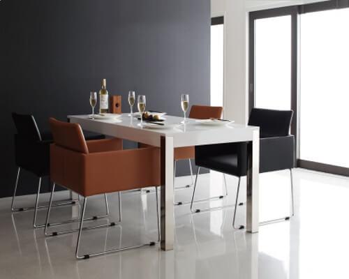 ダイニングテーブル【Graniel】グラニエル ホワイト+ブラック×キャメル