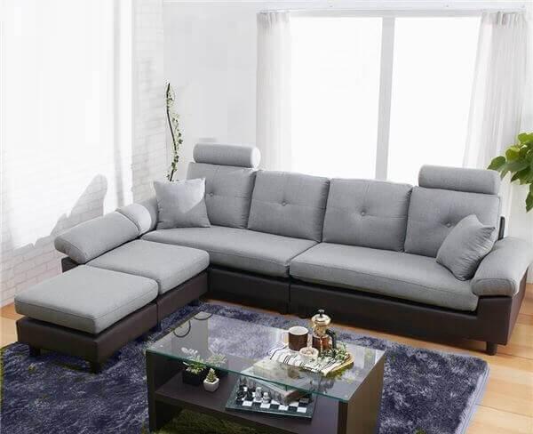 グレーのソファ ツートンボリュームカウチ