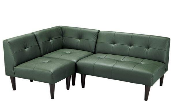 くつろぎソファのリビングダイニング ダークグリーン