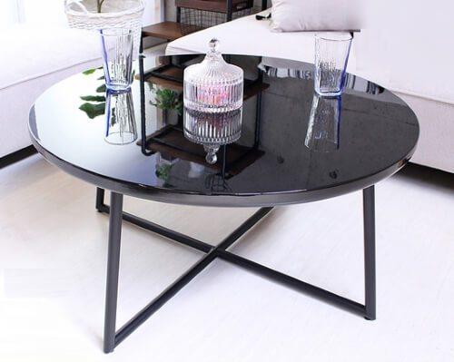鏡面円形ローテーブル ブラック
