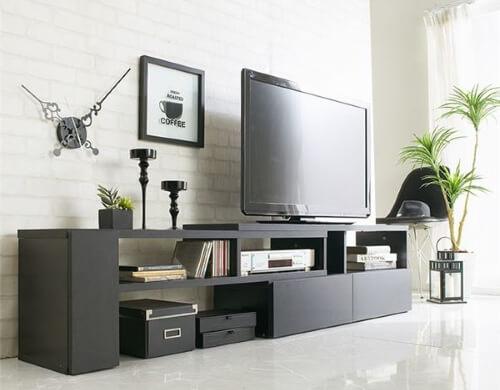 伸縮テレビ台 ブラック