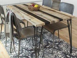天然木アイアンダイニングテーブル ナチュラルミックス