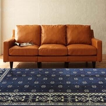バンダナ風ゴブランシェニールラグ ネイビー130×190cm