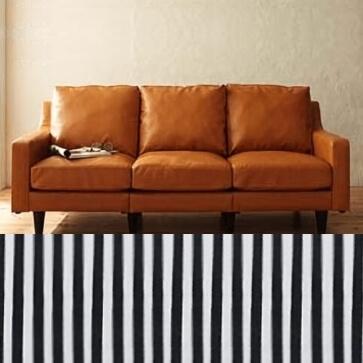 洗える綿入りストライプラグ ブラック176×240cm