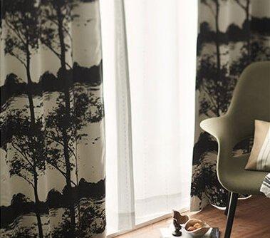 北欧カーテン【Fleuve】フルーヴ ブラック 100×178cm