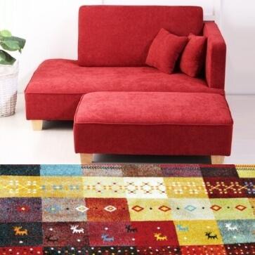 トルコ製ラグ ウィルトン織りギャベ柄 フォリア レッド