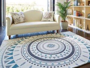 リゾートテイスト シェニール織ラグマット サモア ブルー130cm×190cm