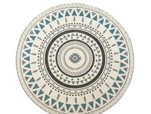 リゾートテイスト シェニール織ラグ 円形サモアブルー