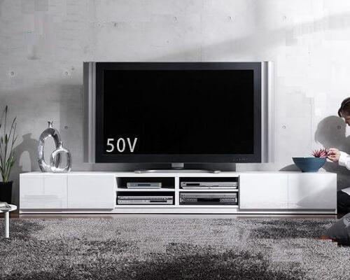 大型ローボード/テレビ台 ホワイト 幅240cm