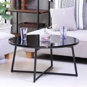 鏡面円形テーブル ブラック