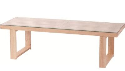 ガラスローテーブル ナチュラル