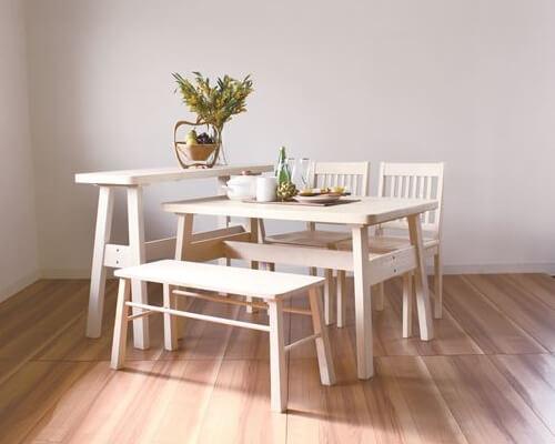 木製ホワイト(白)ダイニングテーブルBERGベルグ