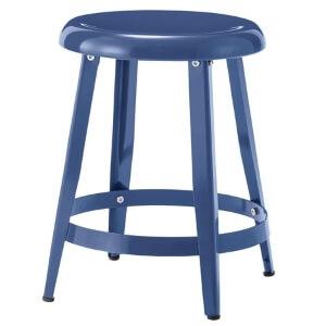ブルーのスチール製丸スツール