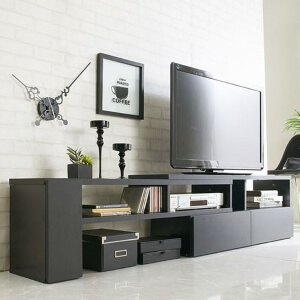 伸縮式テレビボード ブラック