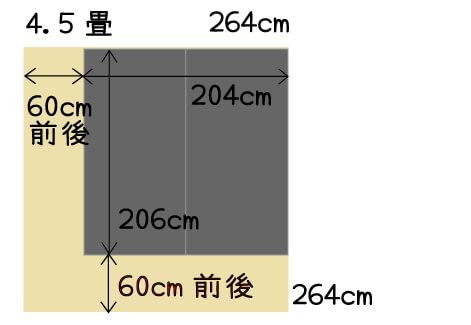 4畳半の部屋の壁側にシングルベッド2つ