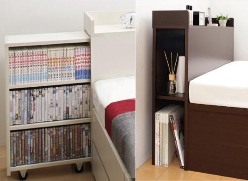 本棚付きベッドの本棚部分拡大