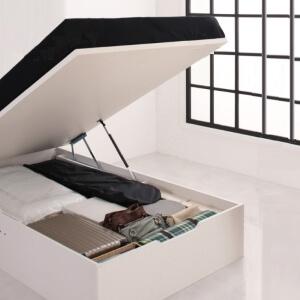 本棚付き跳ね上げ収納ベッド縦開き