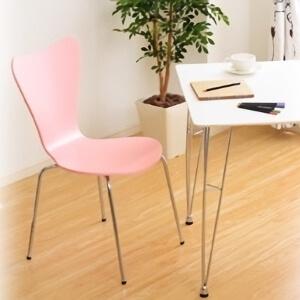 ダイニングテーブル:ホワイト/ダイニングチェア2脚:ピンク【Refinado】リフィナード