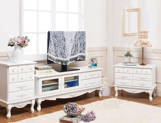 ピュアホワイトアンティーク飾り猫足家具