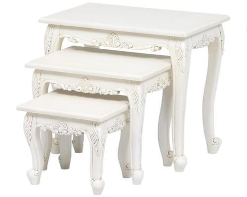 ネストテーブル アンティーク調 ホワイト