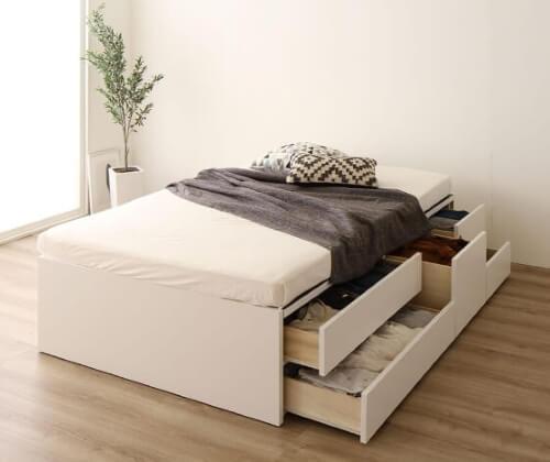 ヘッドレス収納付きベッド【Avantika】アバンティカ ホワイト