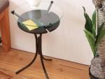 ガラストップサイドテーブル ブラック