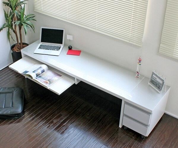 パソコンデスク 鏡面仕上げ ロータイプ シルバー&ホワイト