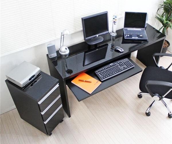 パソコンデスク150cm幅+3段チェスト ブラック