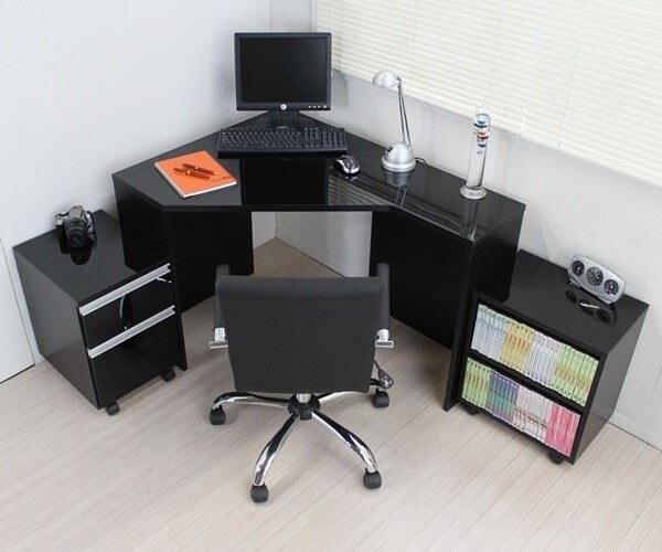 L字型パソコンデスク 鏡面ブラック