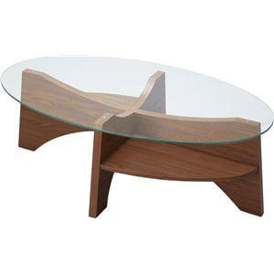 オーバル型ガラステーブル ウォールナット