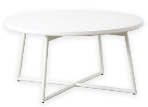 円形鏡面テーブル ホワイト
