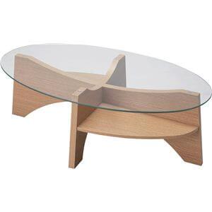 オーバル型ガラステーブル ナチュラル