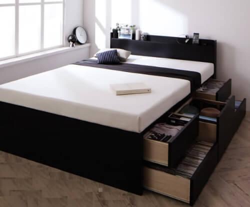 大容量収納付きベッド ブラック