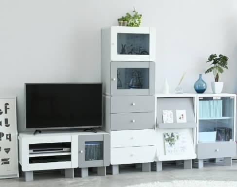 ホワイト×グレーシリーズ収納家具