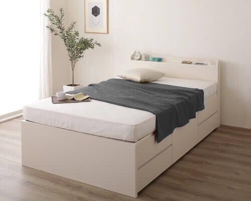 頑丈ボックス収納ベッド 引き出し5杯 ホワイト