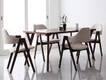 ブラウンダイニングテーブル ホワイトチェア×4