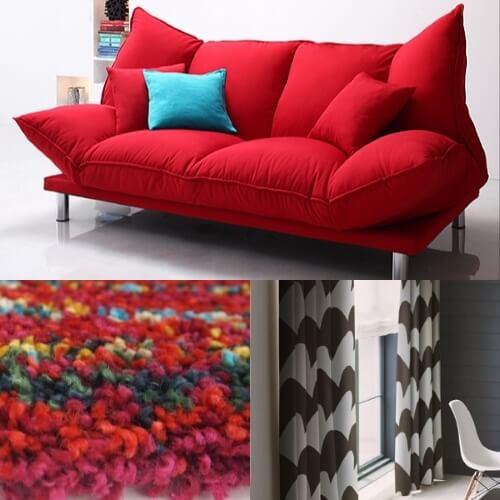 赤いソファのコーディネート