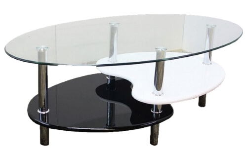 ガラステーブルブラック(黒)&ホワイト(白)