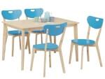 ダイニングテーブル5点セット チェア:ブルー