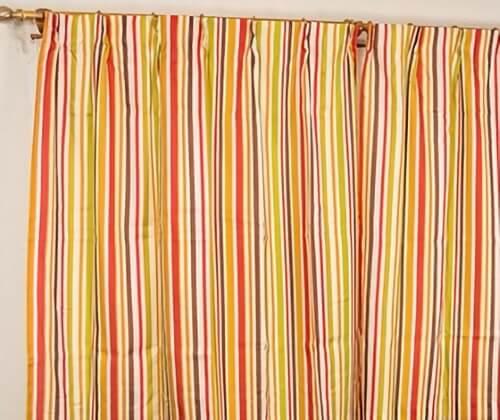ストライプカーテン『ネイバー』ミラーレース付き オレンジ